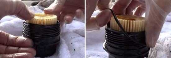вставляем новый фильтрующий элемент и одеваем уплотнительное кольцо