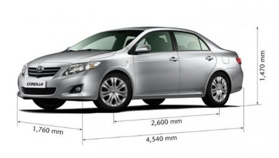 Габаритные размеры седана Тойота Королла D-4 D 125