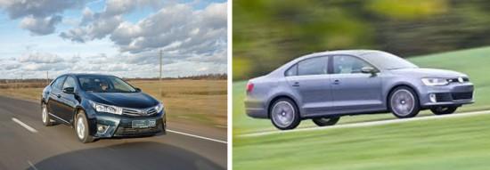 Динамические характеристики Toyota Corolla и Volkswagen Jetta