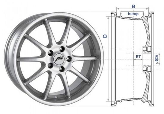Условные обозначения размеров деталей колеса Тoyota Corolla