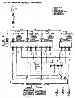 Электросхема  системы зажигания автомобиля Тойота Королла филдер с кузовом седан и универсал