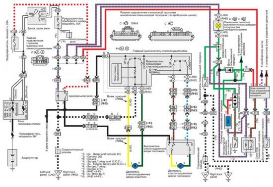 Электросхема электрических стеклоподъемников
