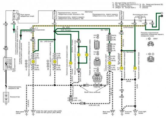 Электросхема освещение элементов приборной панели и задних габаритов