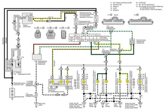 Упрощенная электросхема указателей поворотов