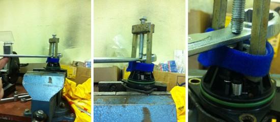 Процесс снятия подшипника с помощью тисков и гаечного ключа