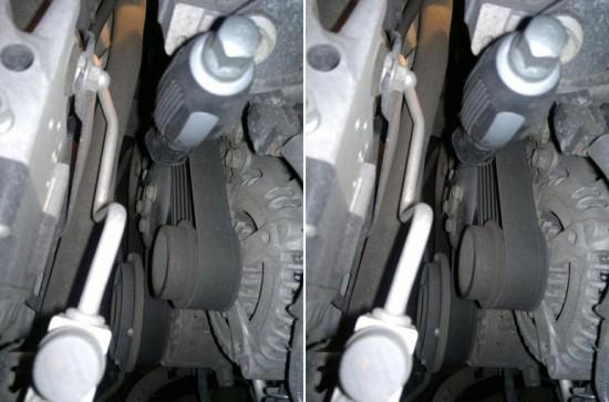 Блокировка шкива помпы с помощью отвертки