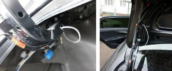 Протягивание провода под обшивкой багажника