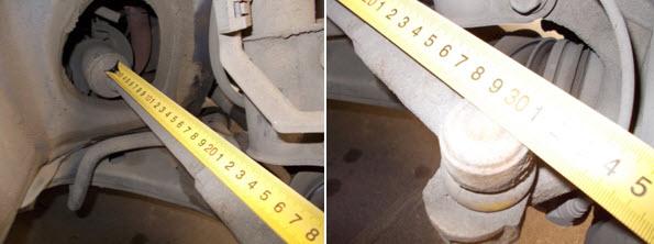 Измерение расстояния от пыльника до оси пальца наконечника