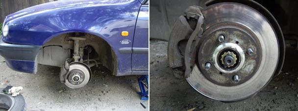 Машина со снятым передним колесом