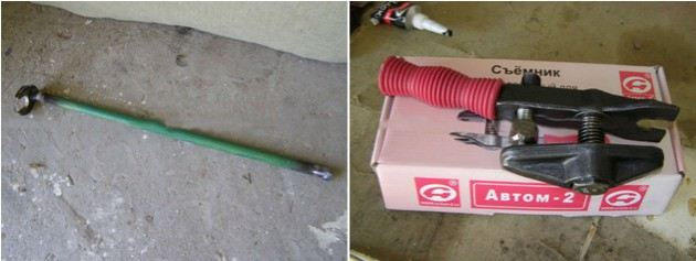 Ключ из трубы и рожкового ключа на 32 и съемник шаровых опор