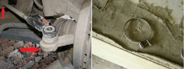 Места крепления рулевой тяги и пружинный хомут
