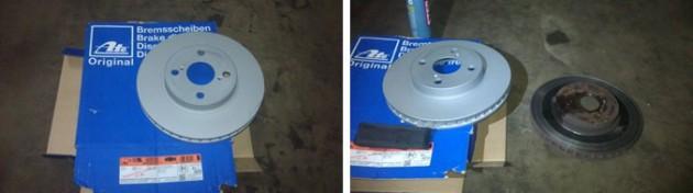 Новый и старый тормозные диски