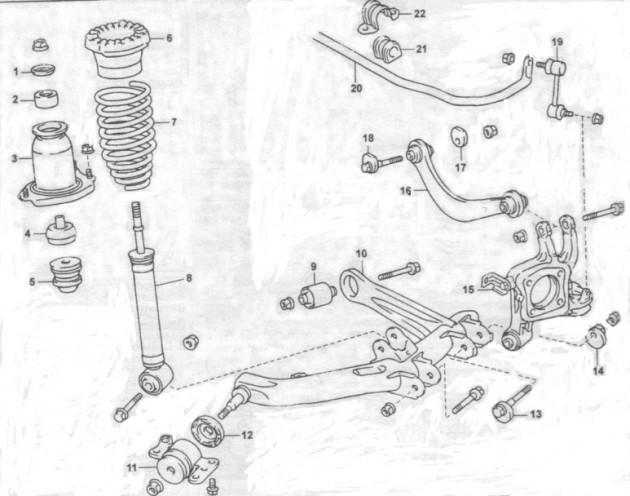 Схема расположения деталей задней подвески